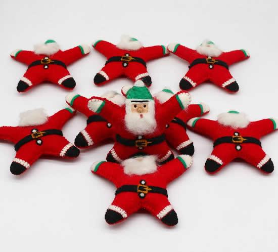 Chaveiros com feltro de Papai Noel