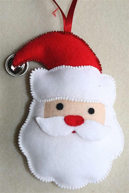 Papai Noel de feltro para chaveiro