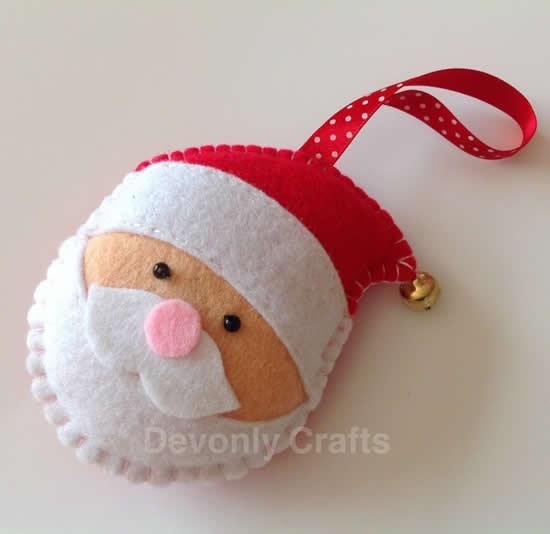 Lindo chaveiro de feltro com Papai Noel