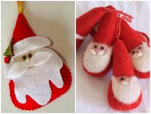 Chaveiros com Papai Noel de feltro