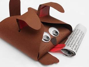 Caixinha cachorrinho de papel com moldes