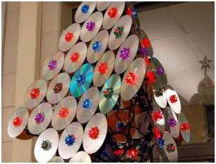 Decoração de Natal - Árvore de Natal com CDs