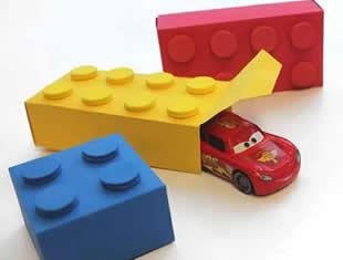 Caixinha Lego de papel com molde