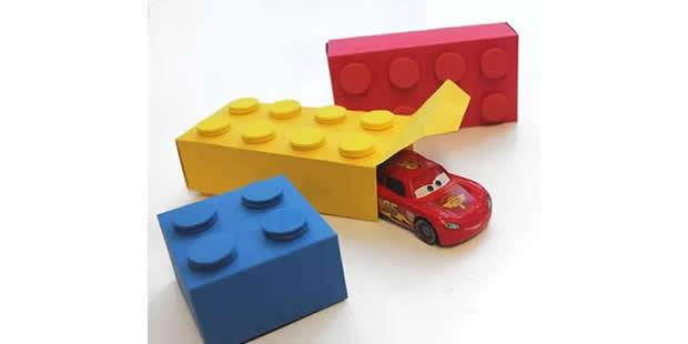 Lembrancinha com molde para Festa Lego