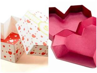 Caixinhas coração com moldes