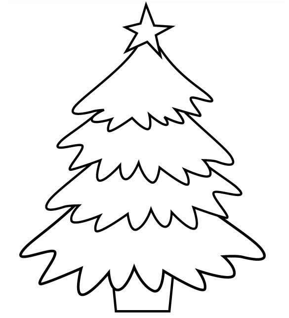 Molde de Árvore de Natal para colorir