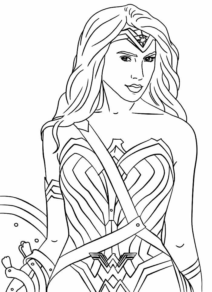 Desenho da Mulher Maravilha para imprimir e colorir