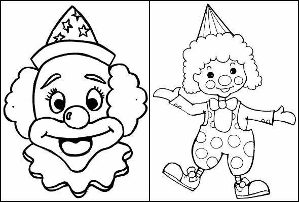 Desenhos de palhaço para pintar e colorir