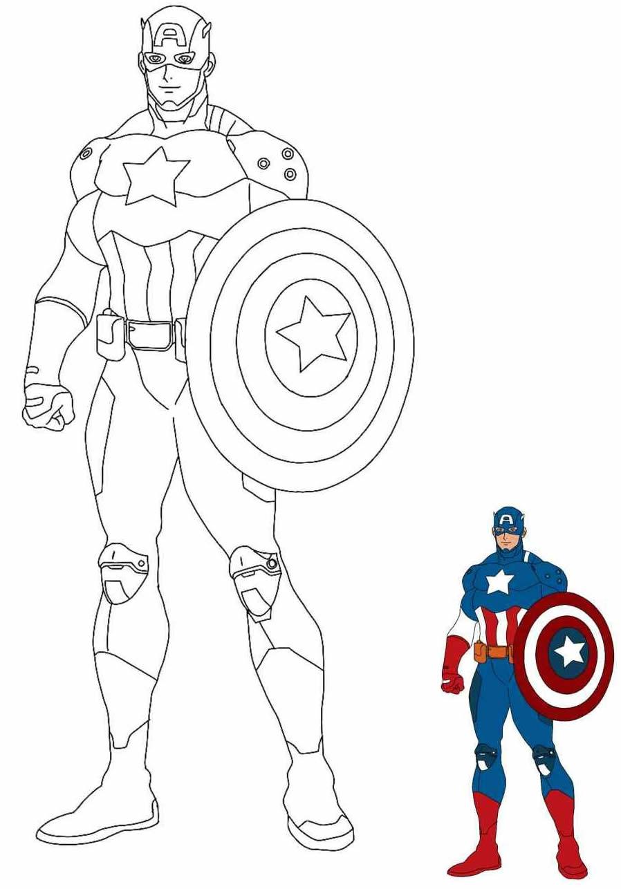 Desenho do Capitão América para pintar