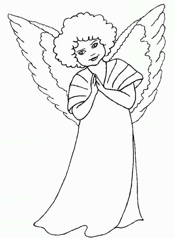 Desenho de anjinha para imprimir e colorir