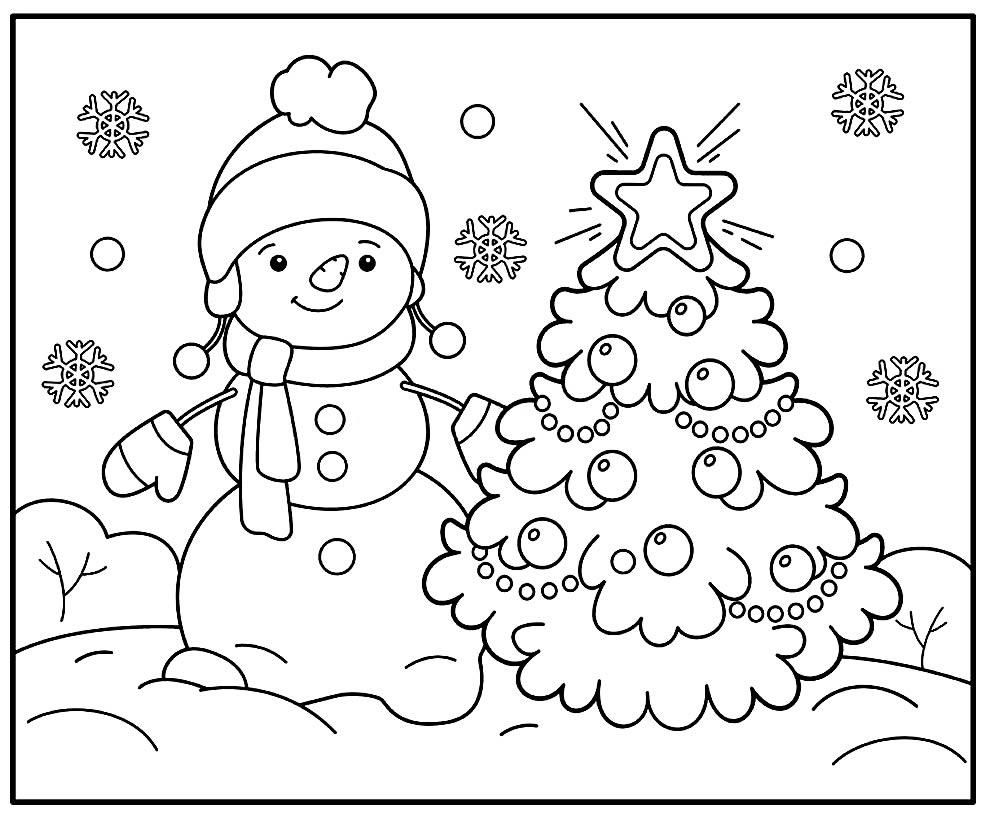 Desenho de Árvore de Natal para pintar