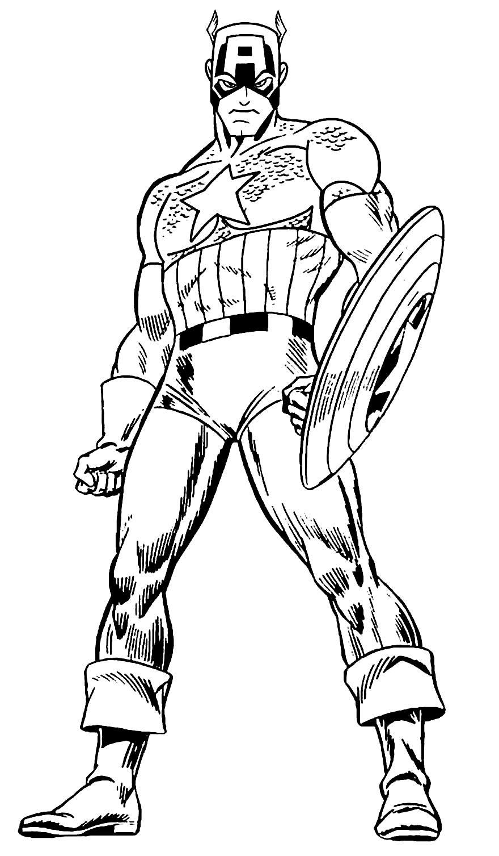 Imagem do Capitão América para colorir