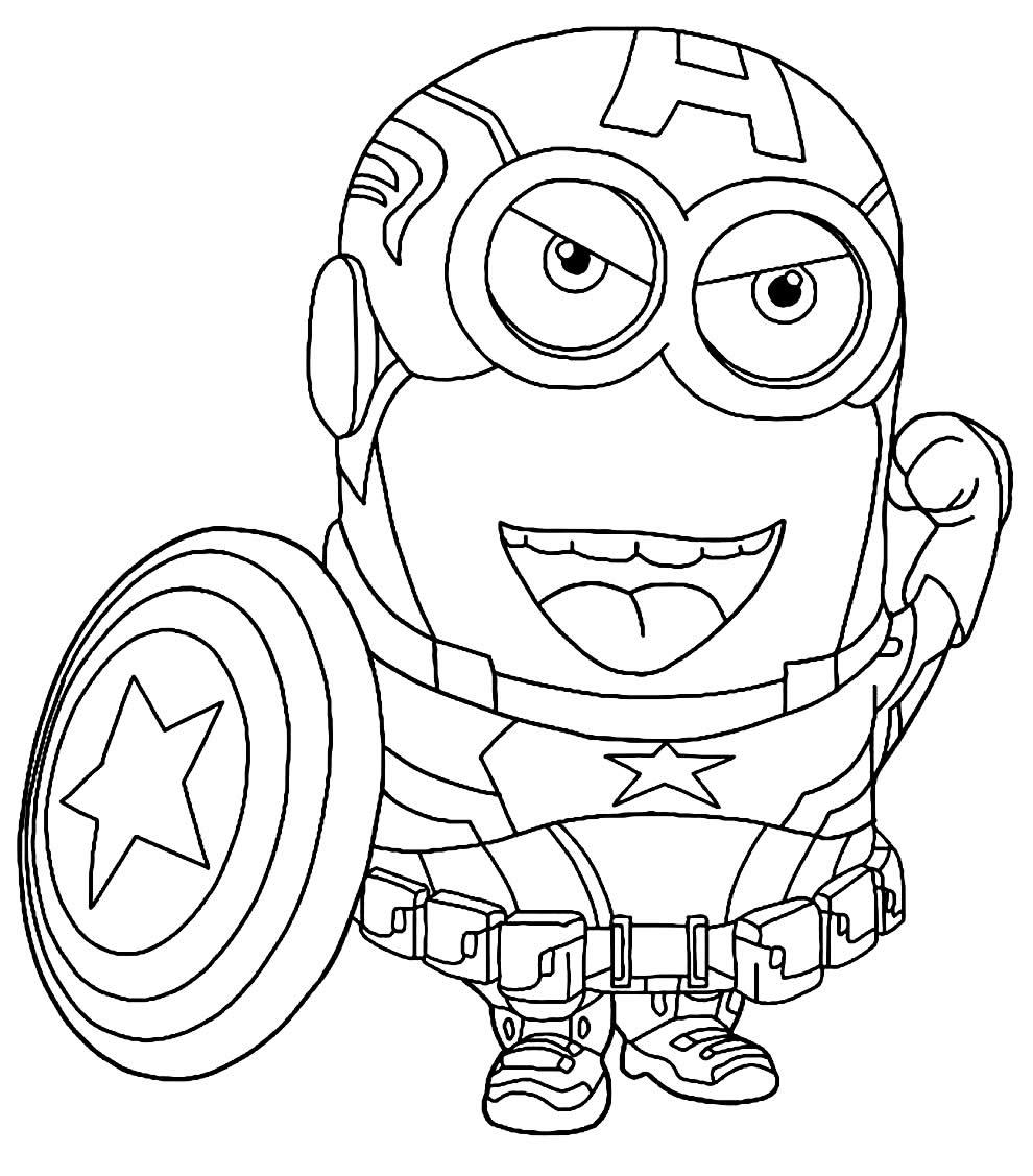 Desenho do Capitão América para colorir - Minions
