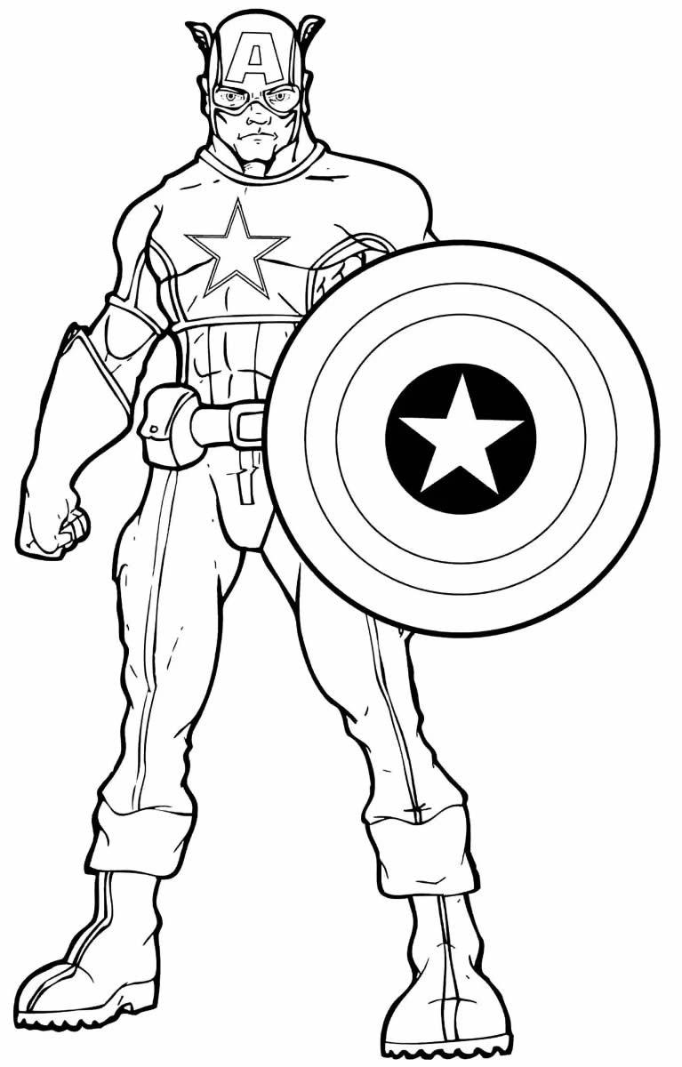 Desenho de Capitão América para pintar