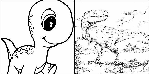 Desenhos de dinossauros para pintar e colorir