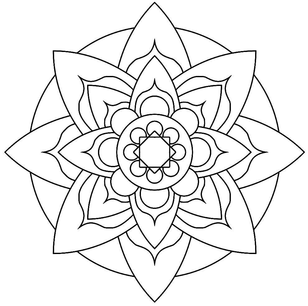 Desenho de flor geométrica para pintar