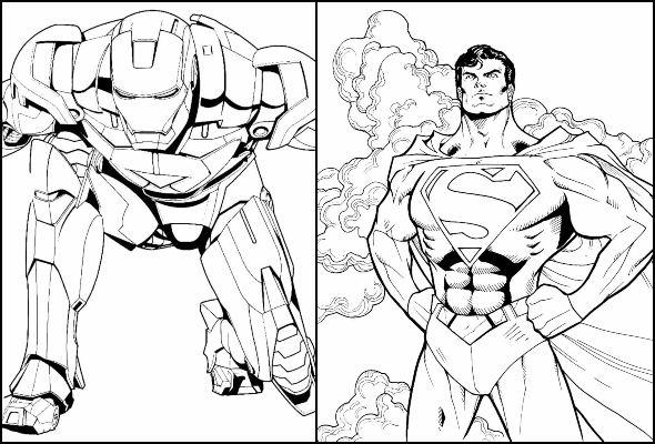 Desenhos de Super-heróis para imprimir e colorir