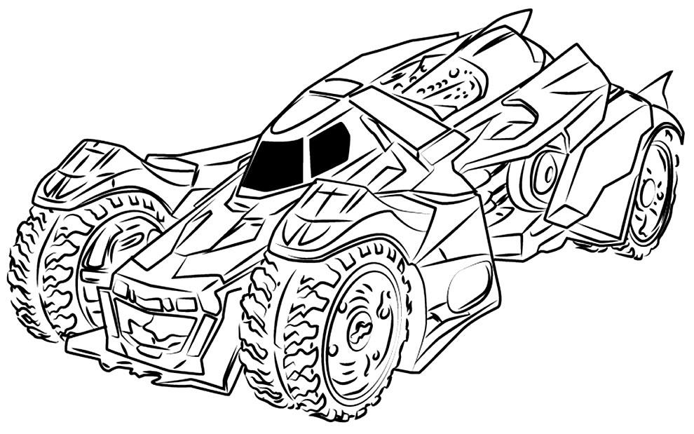 Desenho de Batmóvel para pintar