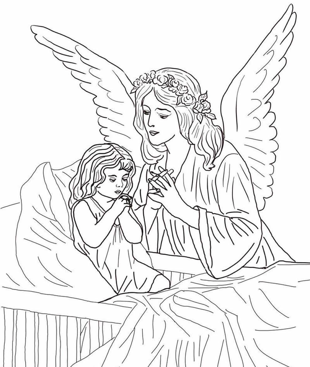 Desenho de anja e menina para colorir