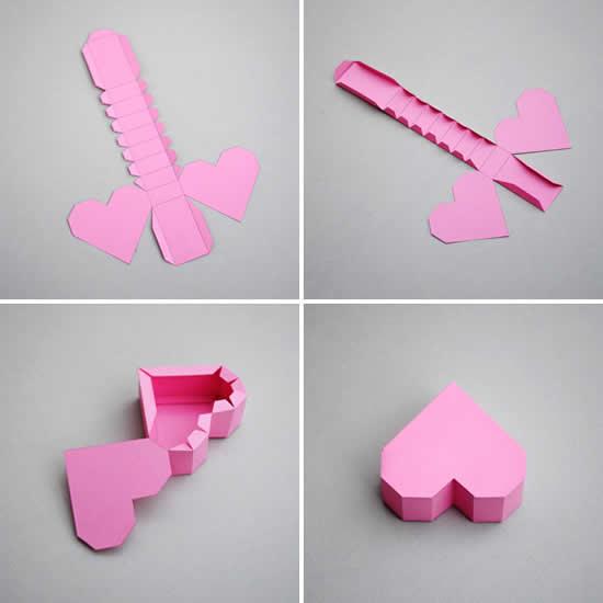Passo a passo de caixinha coração de papel