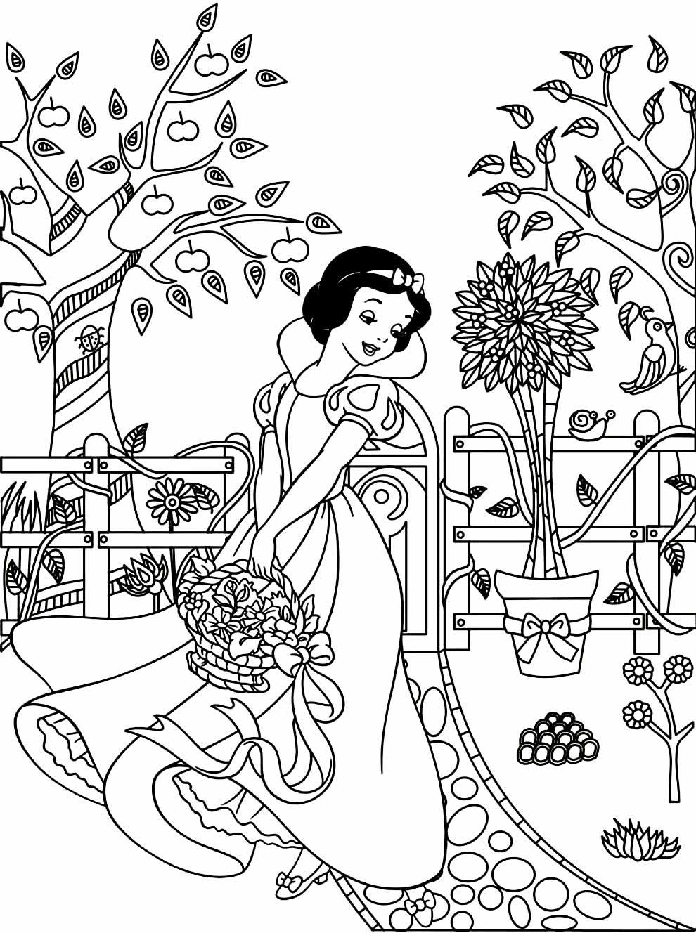 Imagem da Branca de Neve para colorir