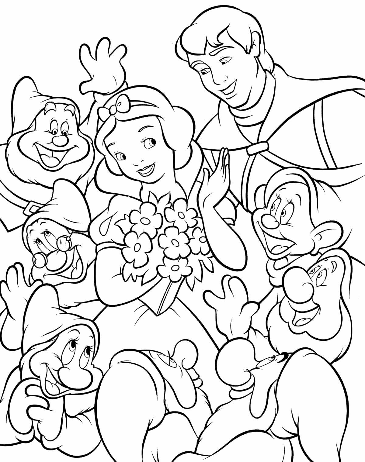 Desenho da Branca de Neve e os Sete Anões para colorir