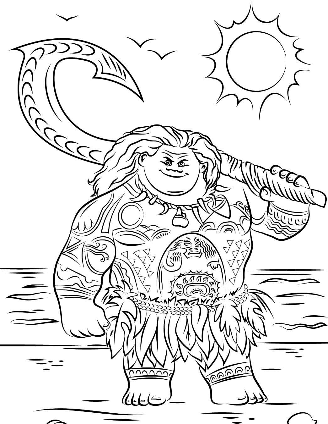 Desenho da Moana para colorir