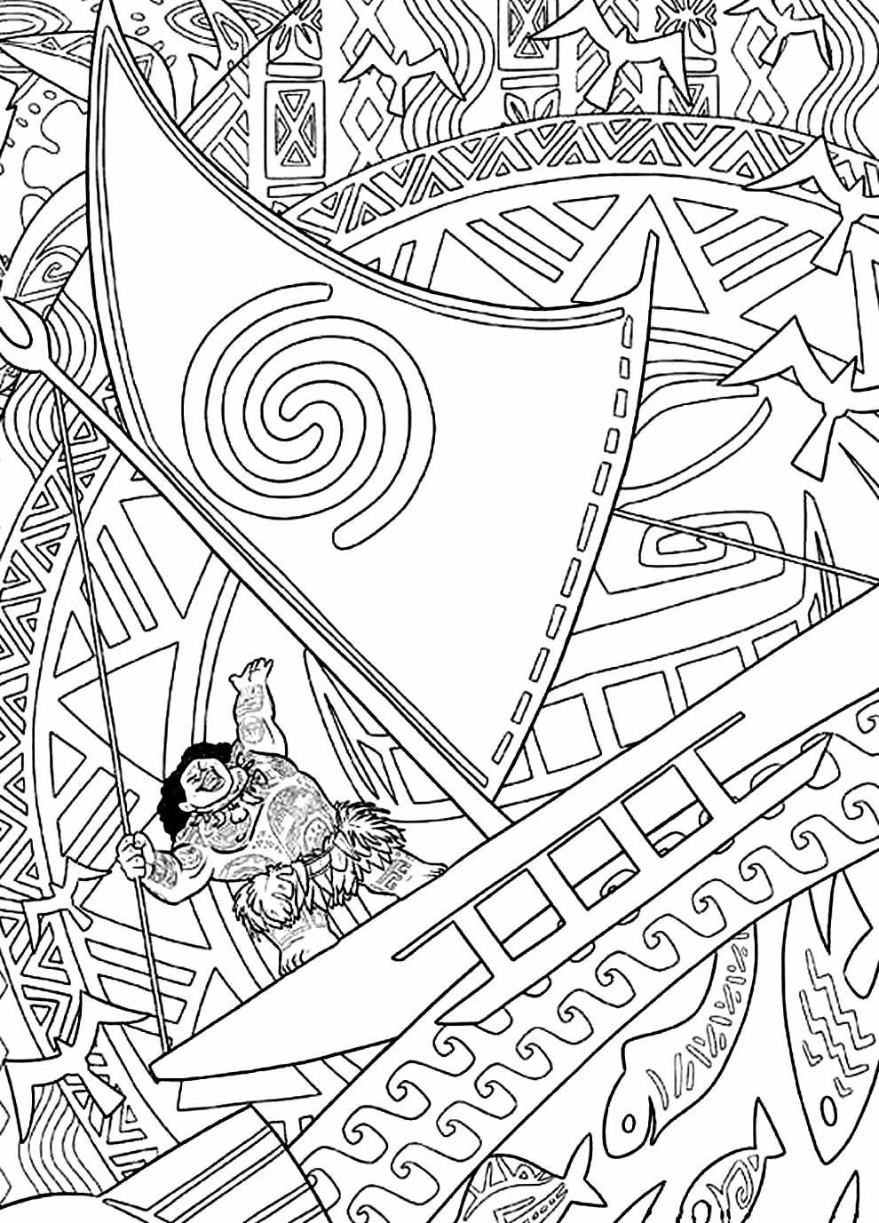 Desenho da Moana para imprimir e colorir