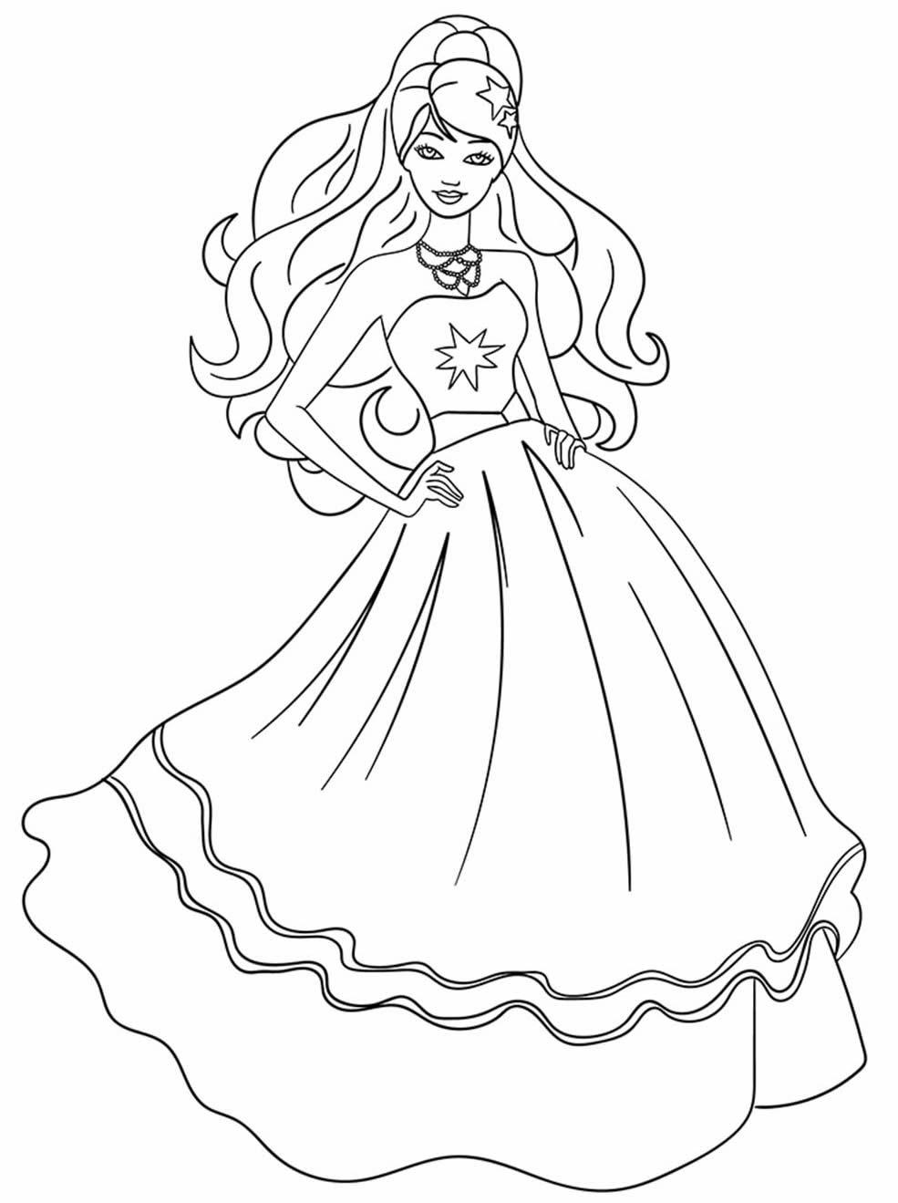 Desenho da boneca Barbie para pintar e colorir