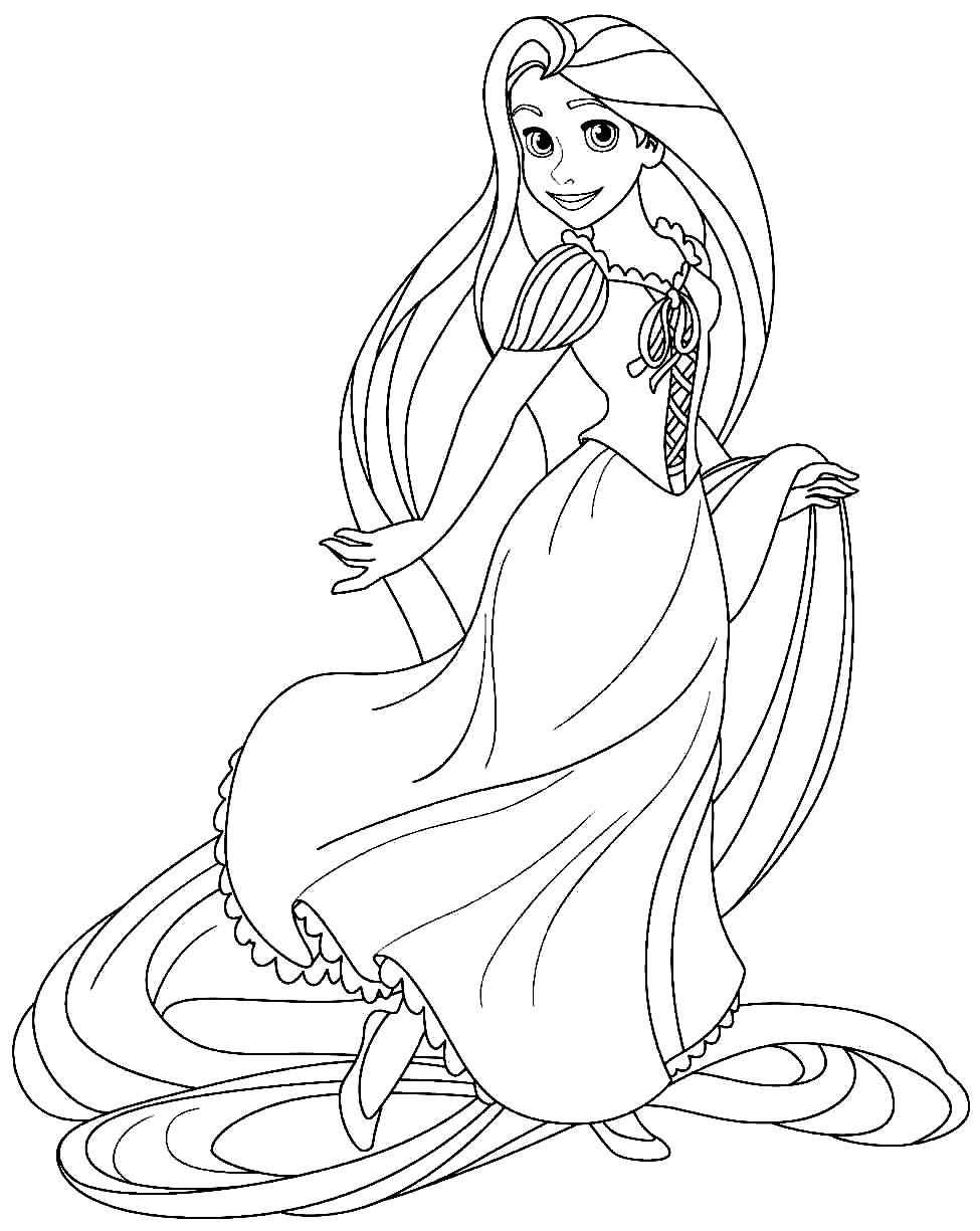 Imagem da Rapunzel para pintar