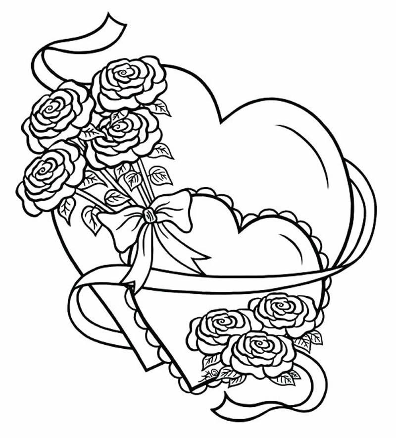Molde de coração para pintar e colorir