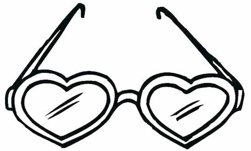 Óculos de coração para colorir