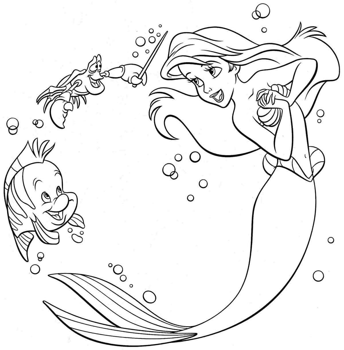 Desenho de colorir da Pequena Sereia