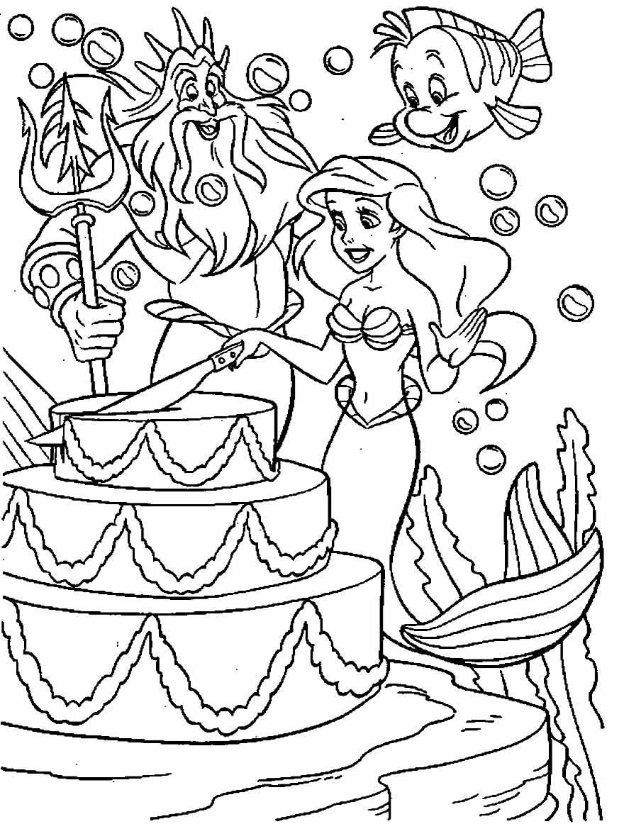 Desenho da Pequena Sereia para pintar