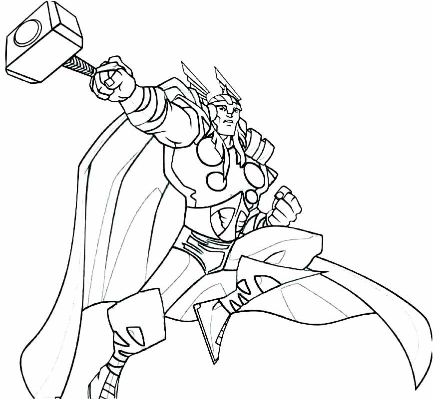 Desenho de Thor para pintar e colorir