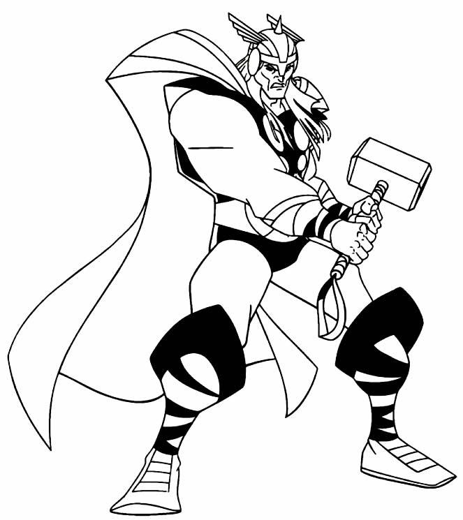 Desenho de Thor para imprimir e colorir