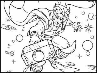 Desenhos de Thor para pintar e colorir