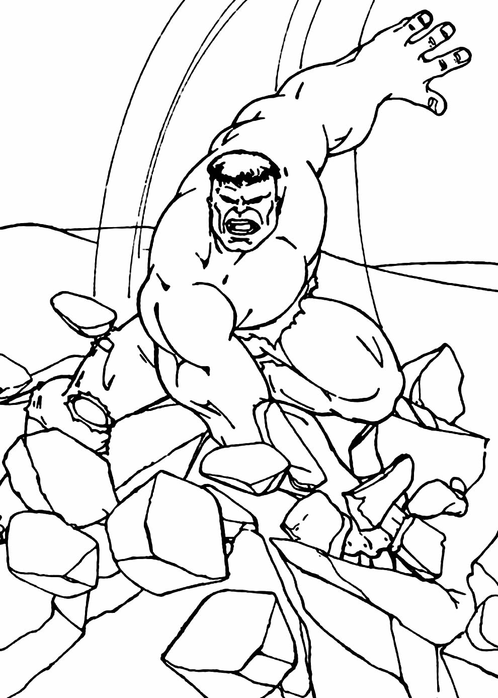 Molde do Hulk para colorir