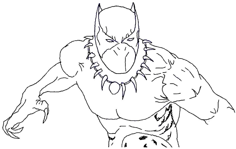 Desenho do Pantera Negra para pintar