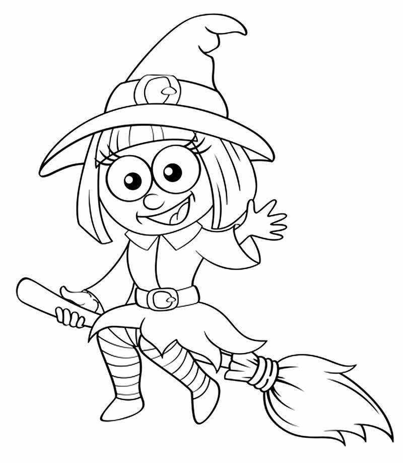Molde de bruxa para colorir