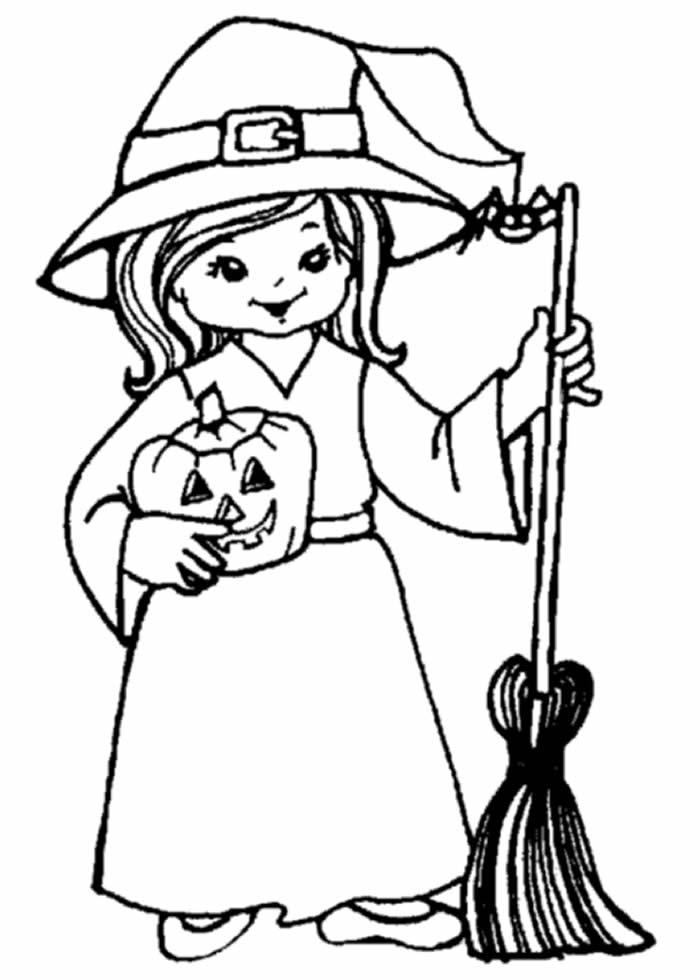 Desenho de bruxa para pintar