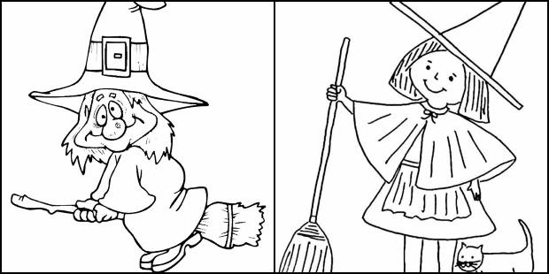 Desenhos de bruxa para pintar e colorir