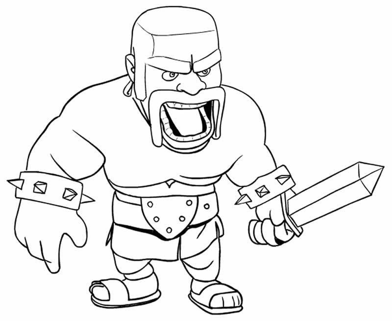 Desenho de Clash of Clans para colorir - Bárbaro