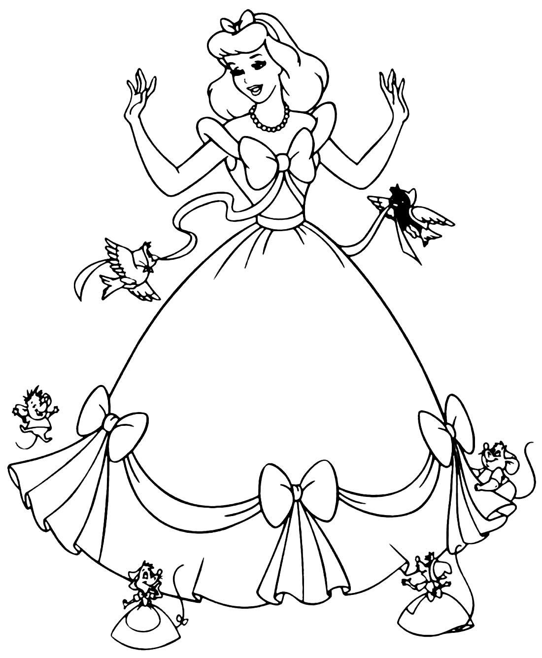 Desenho da Cinderela para colorir