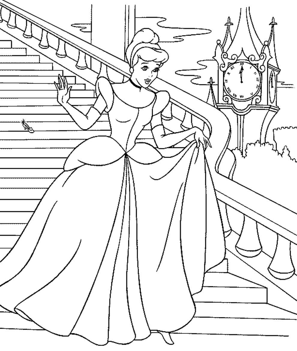 Desenho da Cinderela para pintar
