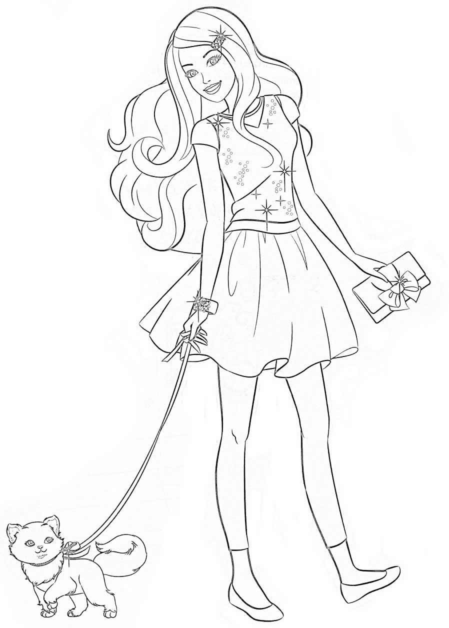 Desenho bonito da Barbie para colorir
