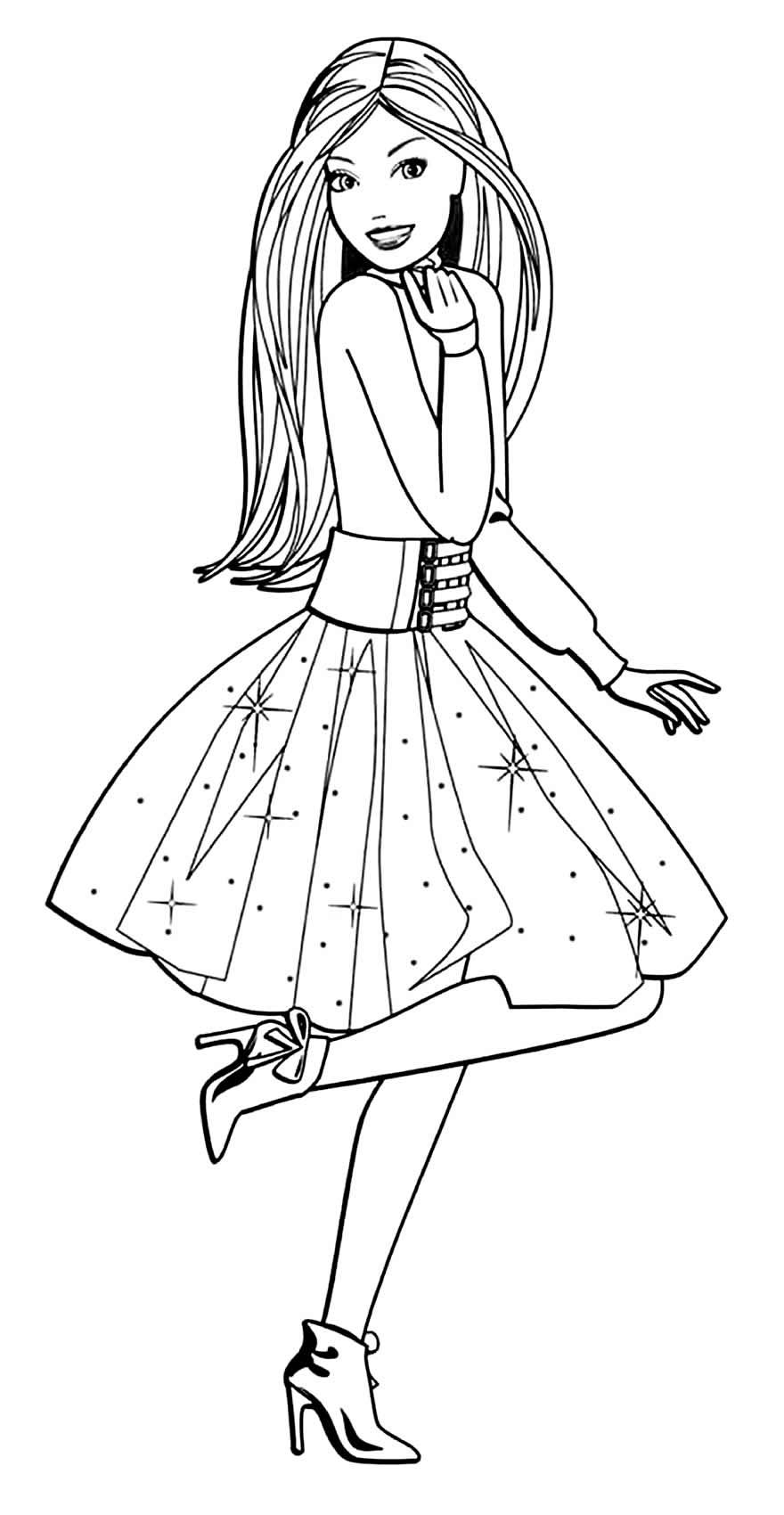 Desenho bonito da Barbie para pintar