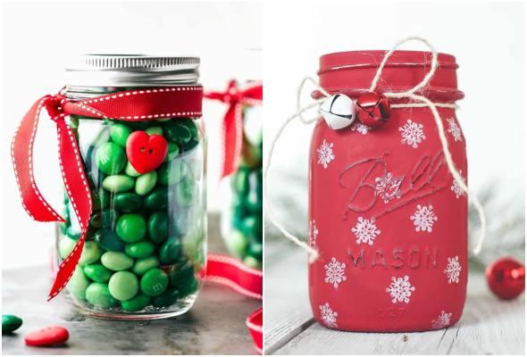 12 lembrancinhas de Natal com potes de vidro