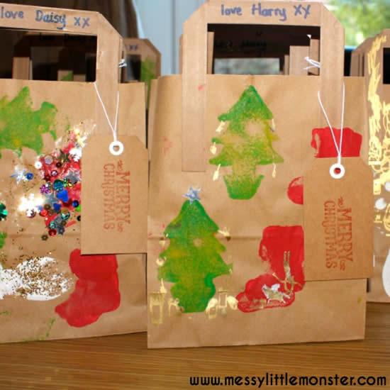 Sacola criativa de Natal com papel