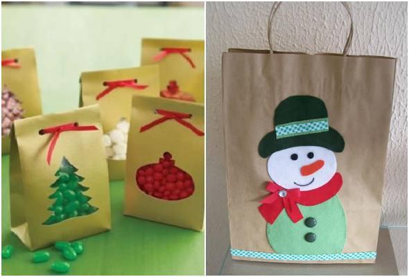 Lembrancinhas de Natal com sacolas de papel